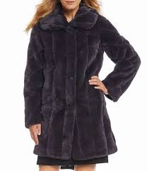 womens jones new york shawl collar faux fur walker coat usjacket278on