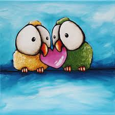 big eyes painting love birds by lucia stewart
