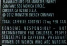 monster energy can warning.  Monster Portion Control Is A Key Aspect Of Caffeine Safety But So Pacing  Monster Minis Rehab Offers 77 Milligrams Per Can Inside Energy Can Warning