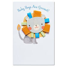Congrats Baby Born American Greetings Lion New Baby Boy Congratulations Card With Ribbon