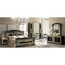 Mirror Bedroom Set Aida Traditional Bedroom Set In Black Gold Bed 2 Nightstands