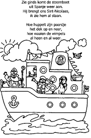 Zie Ginds Komt De Stoomboot Pages To Color Sinterklaas Zwarte