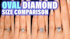 diamond nexus size chart oval shaped diamond size comparison on hand finger engagement ring cut 75 carat 2 ct 1 3 4 1 5 25