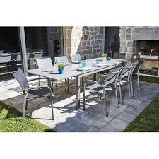 Ensemble table et chaise de jardin en aluminium gris Jardin et Saisons