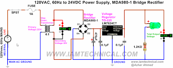 circuit diagram of full wave bridge rectifier capacitor supply using voltage regulator lm7824ct bridge rectifier mda980 1