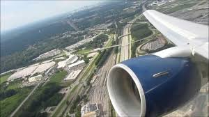 delta airlines boeing 767 300 stormy takeoff from atlanta seat 4g you