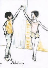 kids ballet children art bay girl dancing ink oil