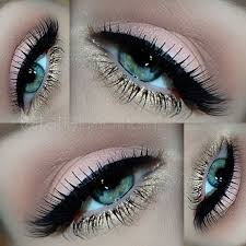 peachy gold eye makeup look for blue eyes