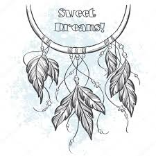 Dream Catcher Outline Dreamcatcher outline vector illustration with feathers Stock 45