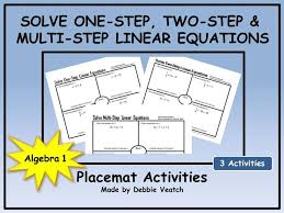 solve one step two step multi step linear equations placemats