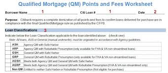 Qualified Mortgage Qm Points And Fees Worksheet Pdf