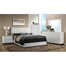 White Contemporary 6Piece Queen Bedroom Set  Avery