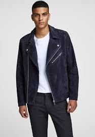 jordane leather jacket dark blue jack jones