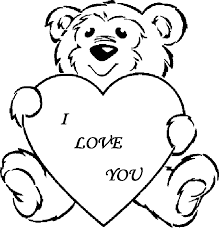 Cute Teddy Bear Holding A Heart Coloring Page Of Love Coloring Home