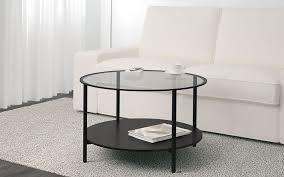 Round Glass Coffee Table VITTSJÖ In Black Brown Colour