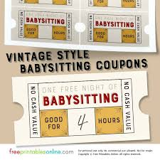 Printable Free Babysitting Coupon Template Certificate