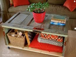 Furniture:Cool Handmade Coffee Table Ideas With Big Wheels On Wooden Floor  Old Window Coffee