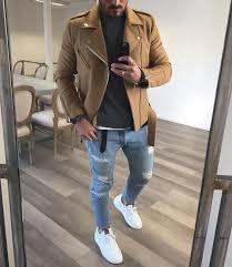 how to wear tan biker jacket charcoal turtleneck light blue ripped skinny jeans