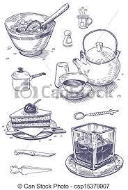 vintage kitchen utensils illustration. Brilliant Illustration Vintage Set Of Food And Kitchen Ute  Csp15379907 For Kitchen Utensils Illustration E