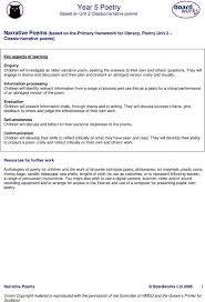 Year 5 Poetry Based On Unit 2 Classic Narrative Poems Pdf