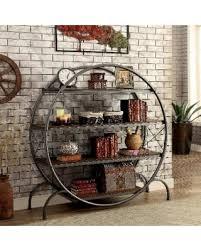 circular furniture. Furniture Of America Diovani Industrial Metal Dark Grey/Black Circular 4-shelf Bookshelf ( R