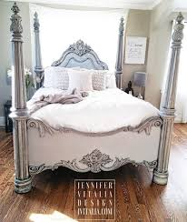 Diy Painting Bed Frame Unique sold Queen Poster Bed Handpainted Gray ...