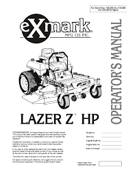 Exmark Lazer Z Light Kit Exmark Lazer Ztm Users Manual Manualzz Com