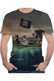 Summer <b>Funny Pirate</b> Cat Pattern Round Neck Short Sleeve Grey <b>T</b> ...