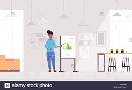 How To Make A Flip Chart Presentation Businesswoman Presenting Financial Graph On Flip Chart