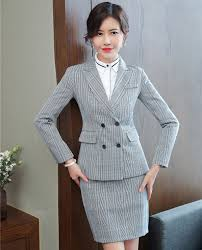 Winter Suits Design For Ladies Us 48 45 15 Off Fashion Plaid 2018 Fall Winter Formal Blazers With Jackets And Skirt For Ladies Office Work Wear Uniforms Designs Business Suits In