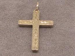 9carat 9k antique hollow yellow gold hand engraved cross pendant birmingham 1905