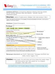 Mla Database Citation Newspapers