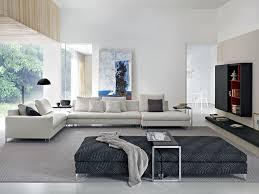 Living Room Design: 3 White Sofa - Footstools