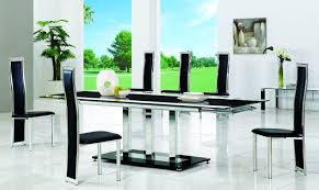 Glass Dining Table In Sweet Silver Steel Legs Combined Along With