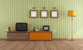 Retro Living Room Vintage Living Room With Retro Tv Rendering Stock Photo Picture