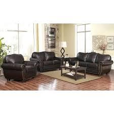 abbyson top grain leather living room sofa set braylen recliner brown regina sectional