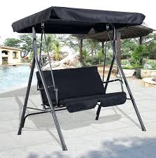 outdoor swing canopy replacement 2 metal hammock chair bench lounger cushioned patio black top cover porch