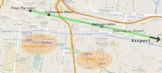 map hotel near train to airport bangkok