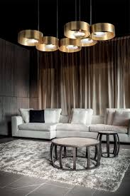 Detail In Contemporary Lighting Design Large Contemporary Gold Plated Suspension Light Industrial