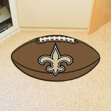 new orleans saints football shaped area rug 22 x 35