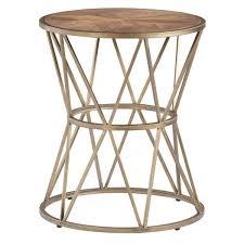 progressive furniture soho sun gold metal round end table