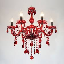 positively glow red crystal glass curved arms and dropletes chandelier light
