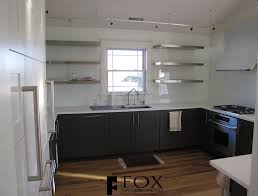 white glass backsplash and ss shelves fox woodworking with regard to glass shelves for kitchen