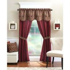 drapes with valance. Window 5 Piece Curtain Set 2 Panels Valance Assorted Colors Home Sheer Drapes Brick With O