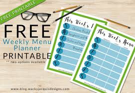 one week menu planner free weekly menu planner printable