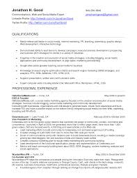 Social Media Resume Template Best Online Marketer And Social