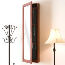 wall mount jewelry armoire mirror. Southern Enterprises 48-1/4 In. X 14-1/2 Wall-Mounted Jewelry Armoire With Mirror In Cherry-VM5061 - The Home Depot Wall Mount R