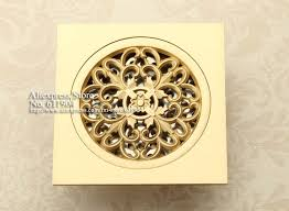 square polished brass shower drain cover round