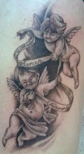 Two Baby Angels With Banner Tattoo Design