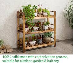 garden rack. Solid Wood Flower Rack, Wooden Shelf, DIY Garden, 3 Tier Shelve Garden Rack A